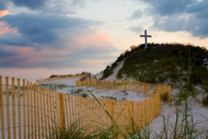 Beach Cross with Fence