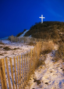 Beach Cross at Night